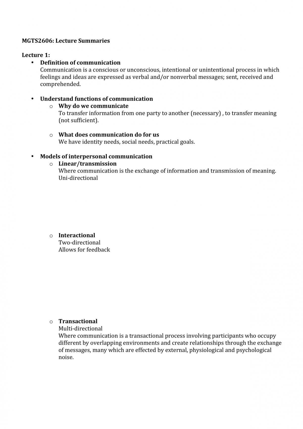 MGTS2606 Final Exam Notes - Page 1