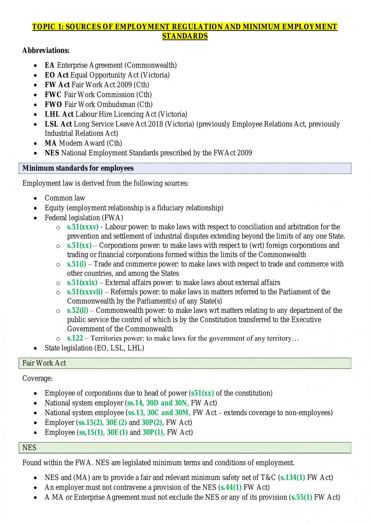 LAW4132 Law of Employment HD Exam Notes - Page 1