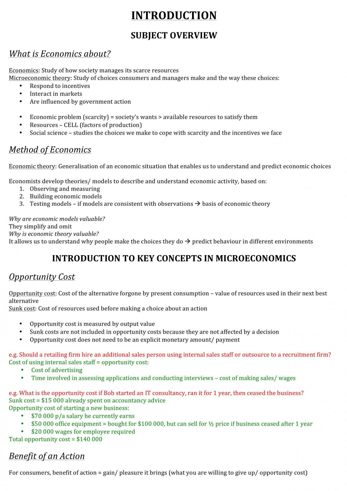 Introductory Microeconomics study notes - Page 1