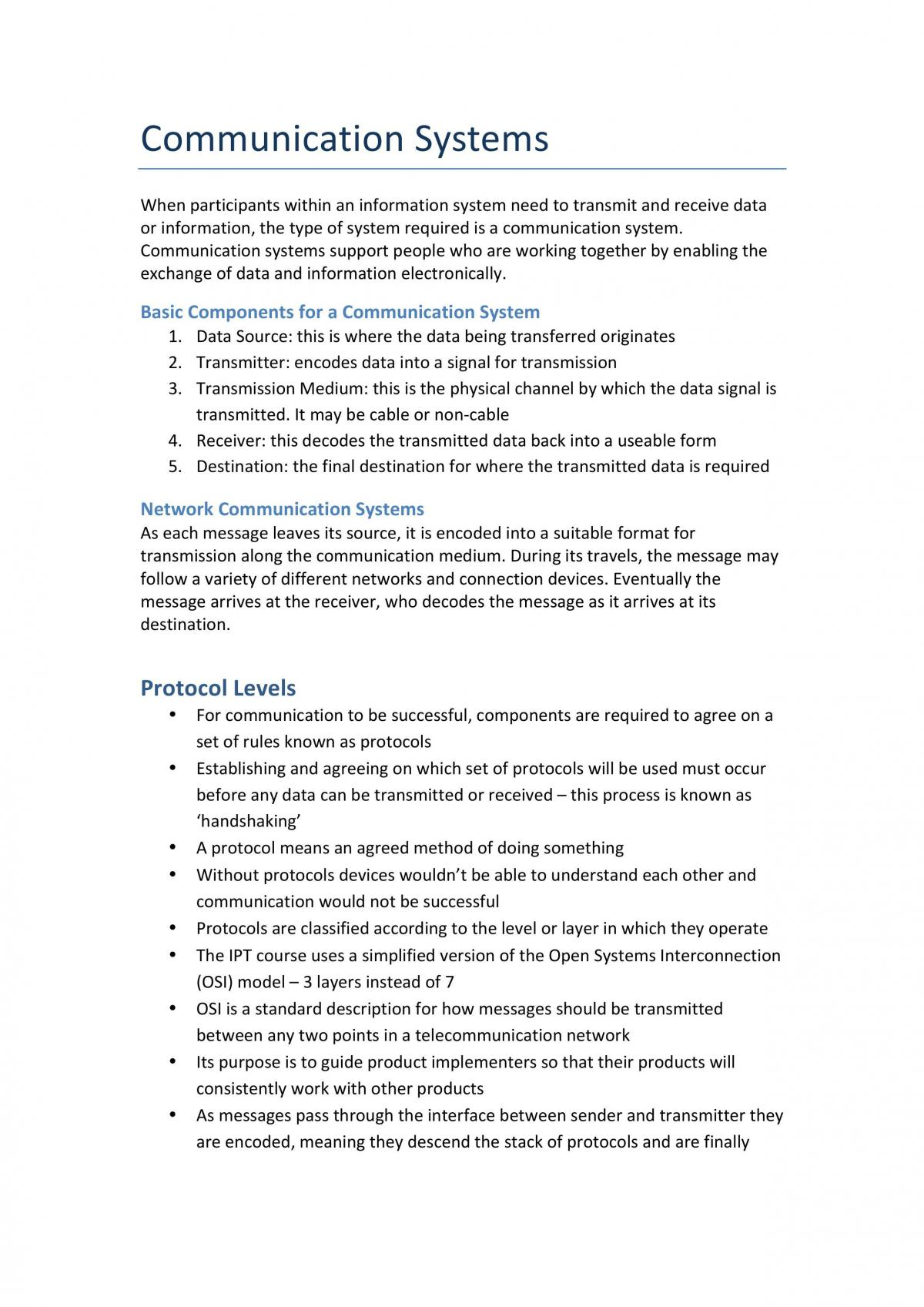 Communication Systems Summary - Page 1