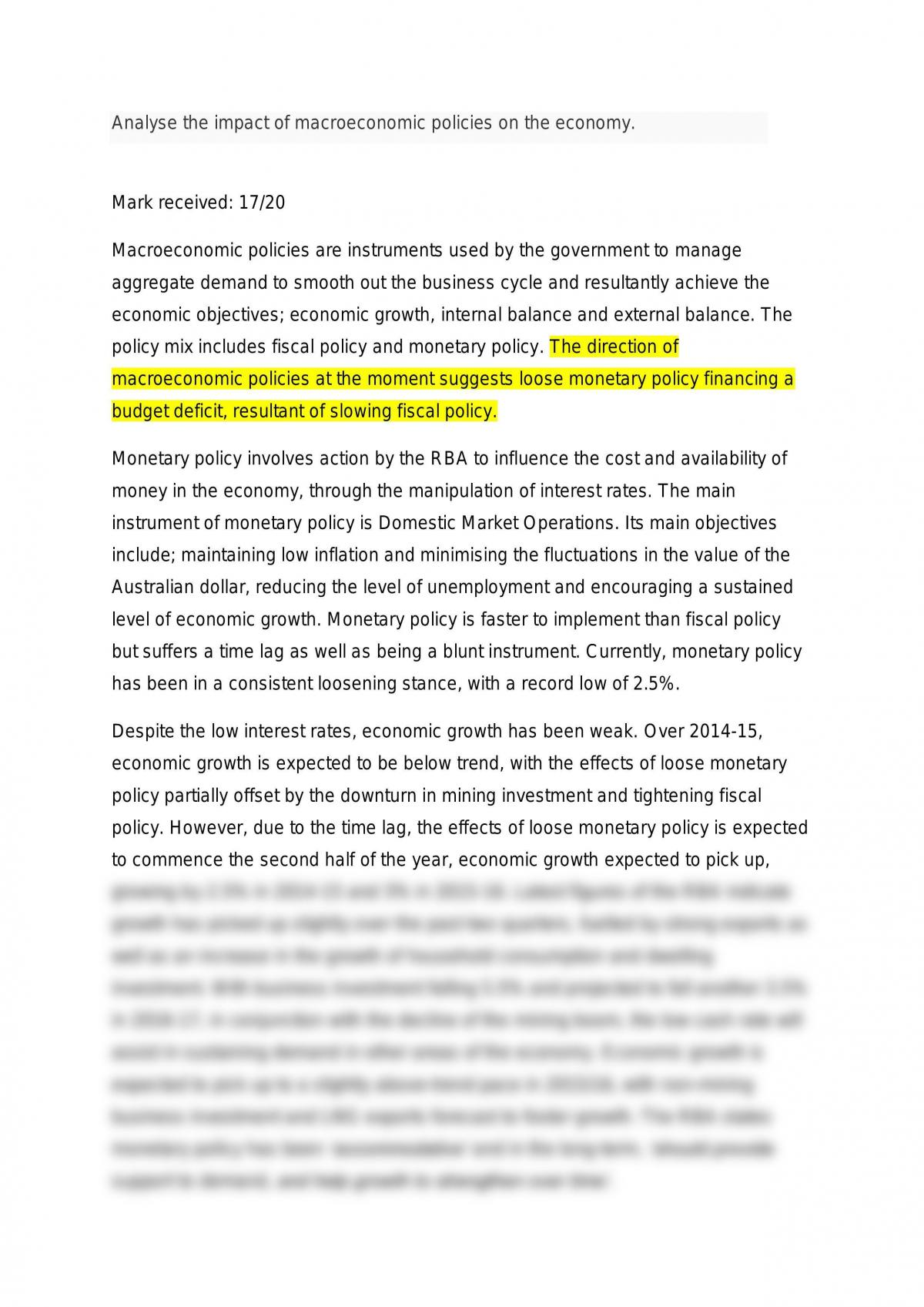 2014 HSC Macroeconomic Analysis Essay  - Page 1