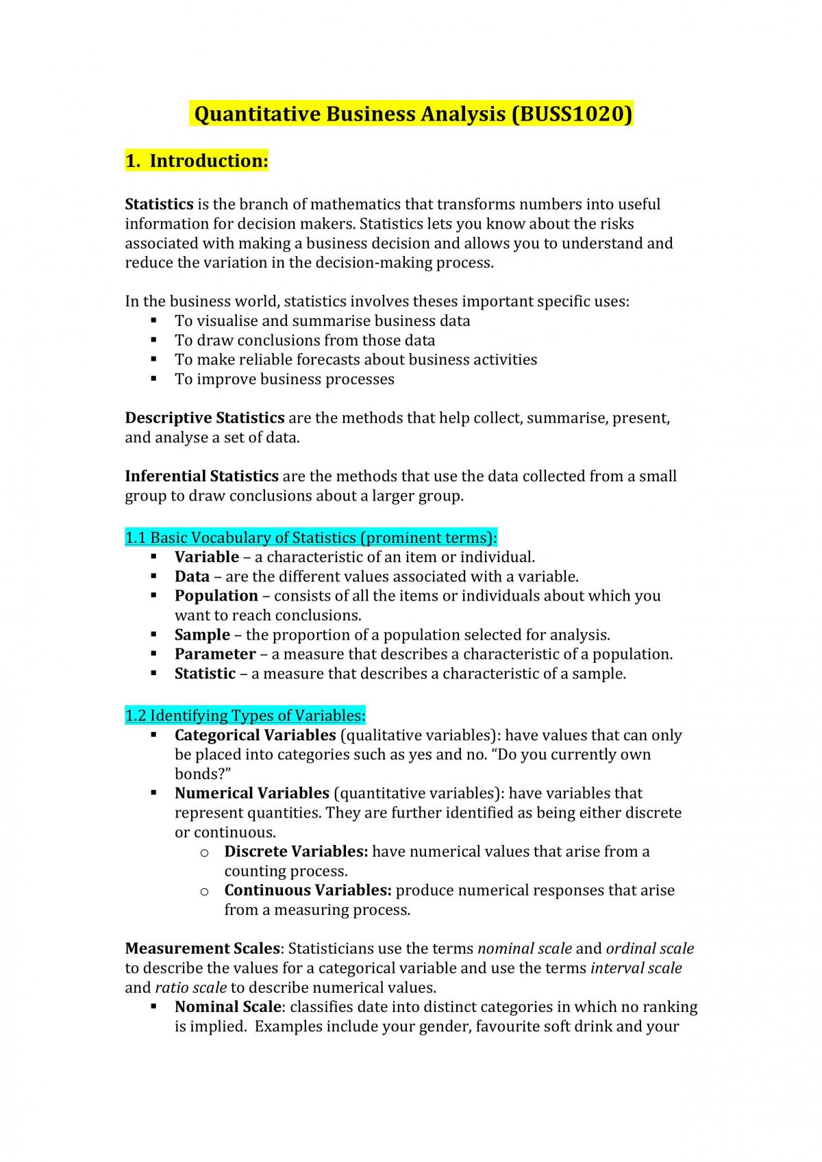 Quantitative Business Analysis Notes - Page 1