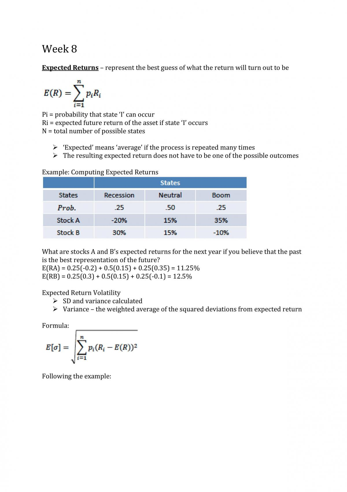 FINS1613 Week 8 Study Notes - Page 1