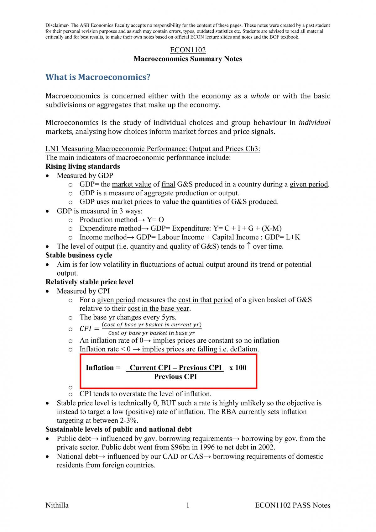 ECON1102 Final Exam Notes - Page 1