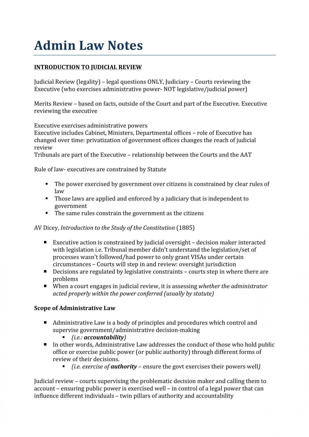 Administrative Law Notes - Page 1