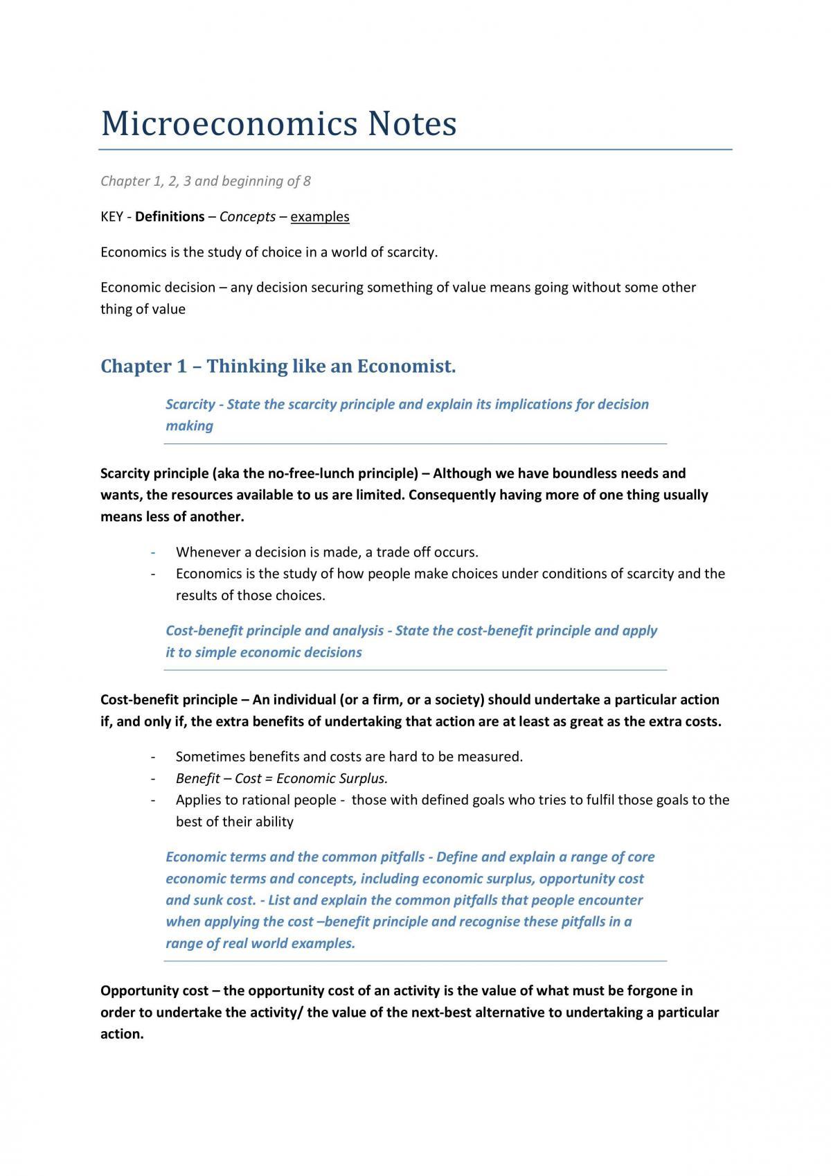Microeconomics Notes  - Page 1