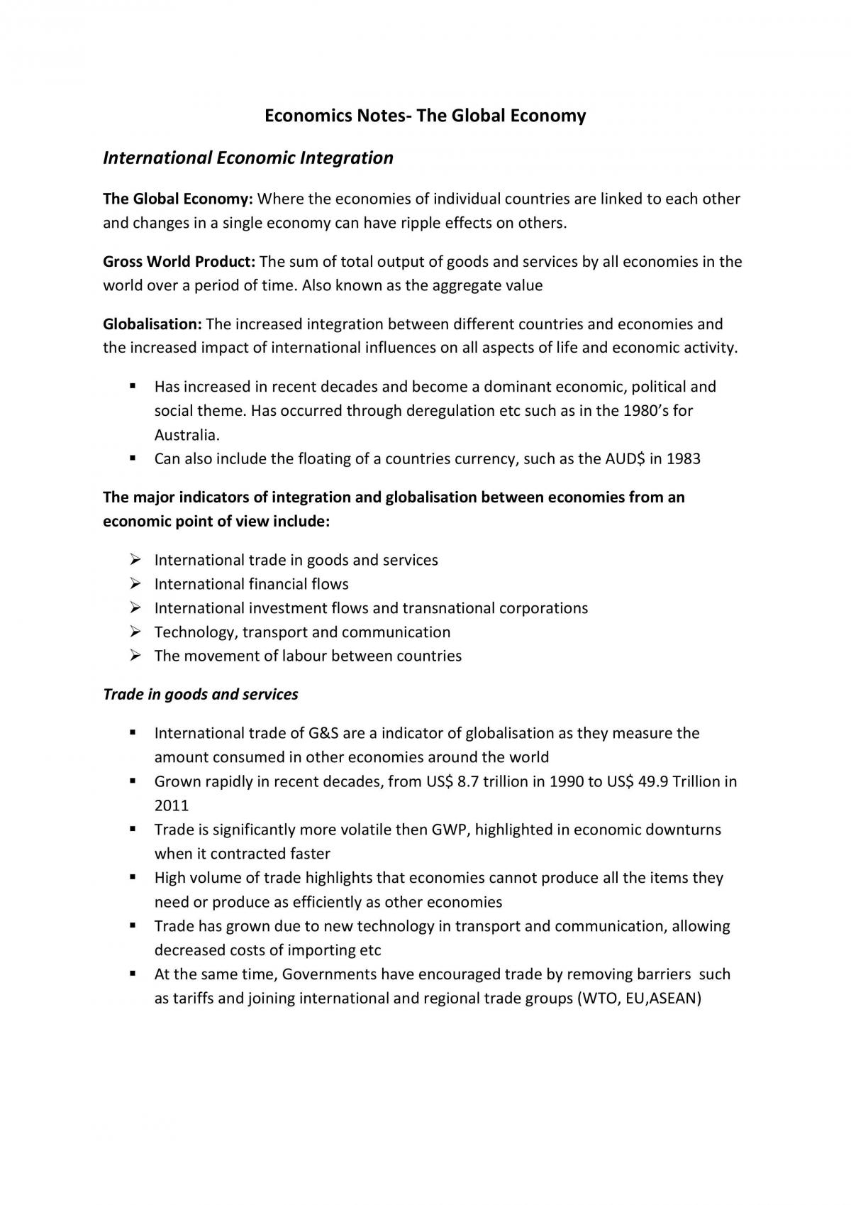 The Global Economy  - Page 1