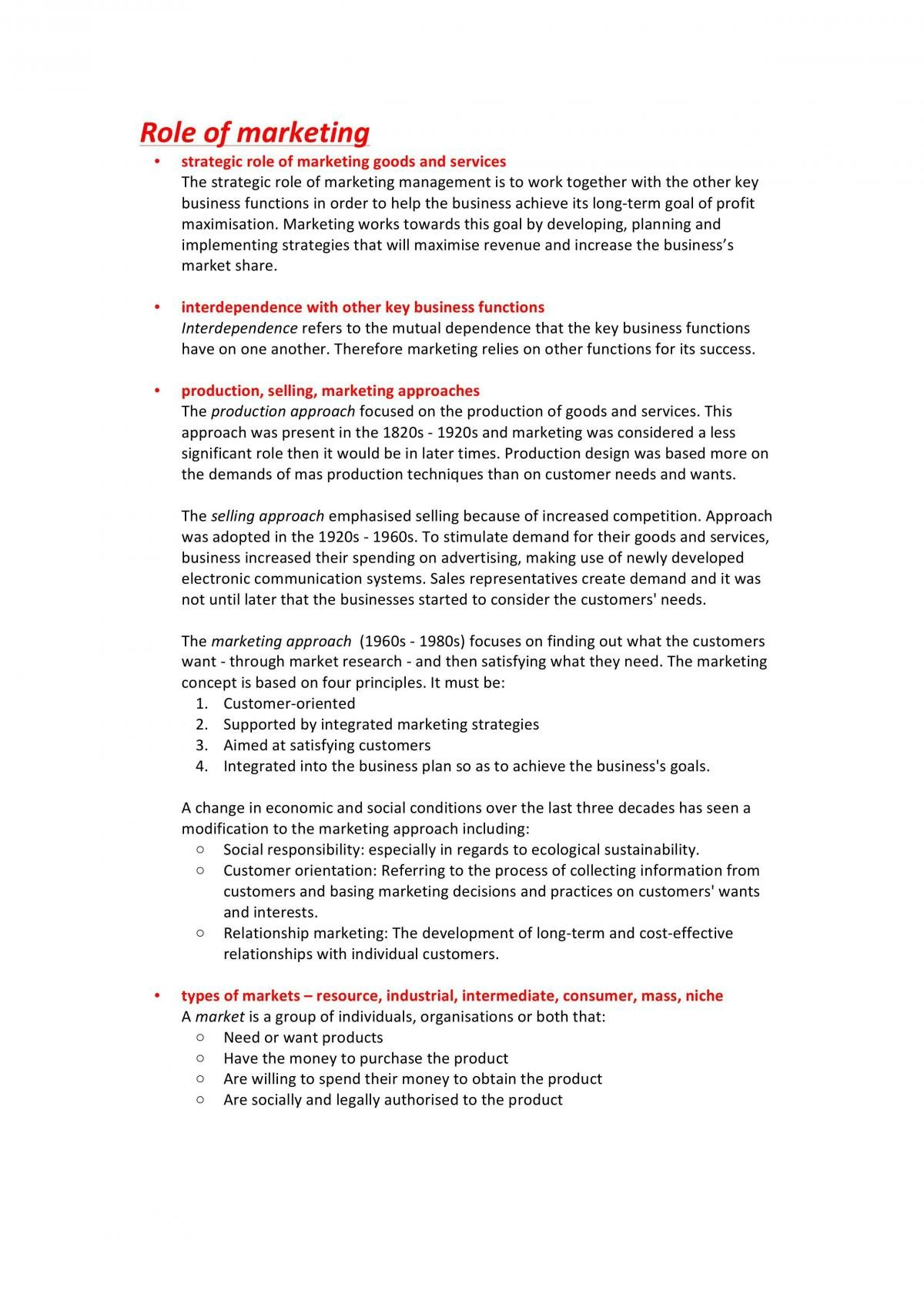 Business Studies HSC Marketing Topic Notes - Page 1