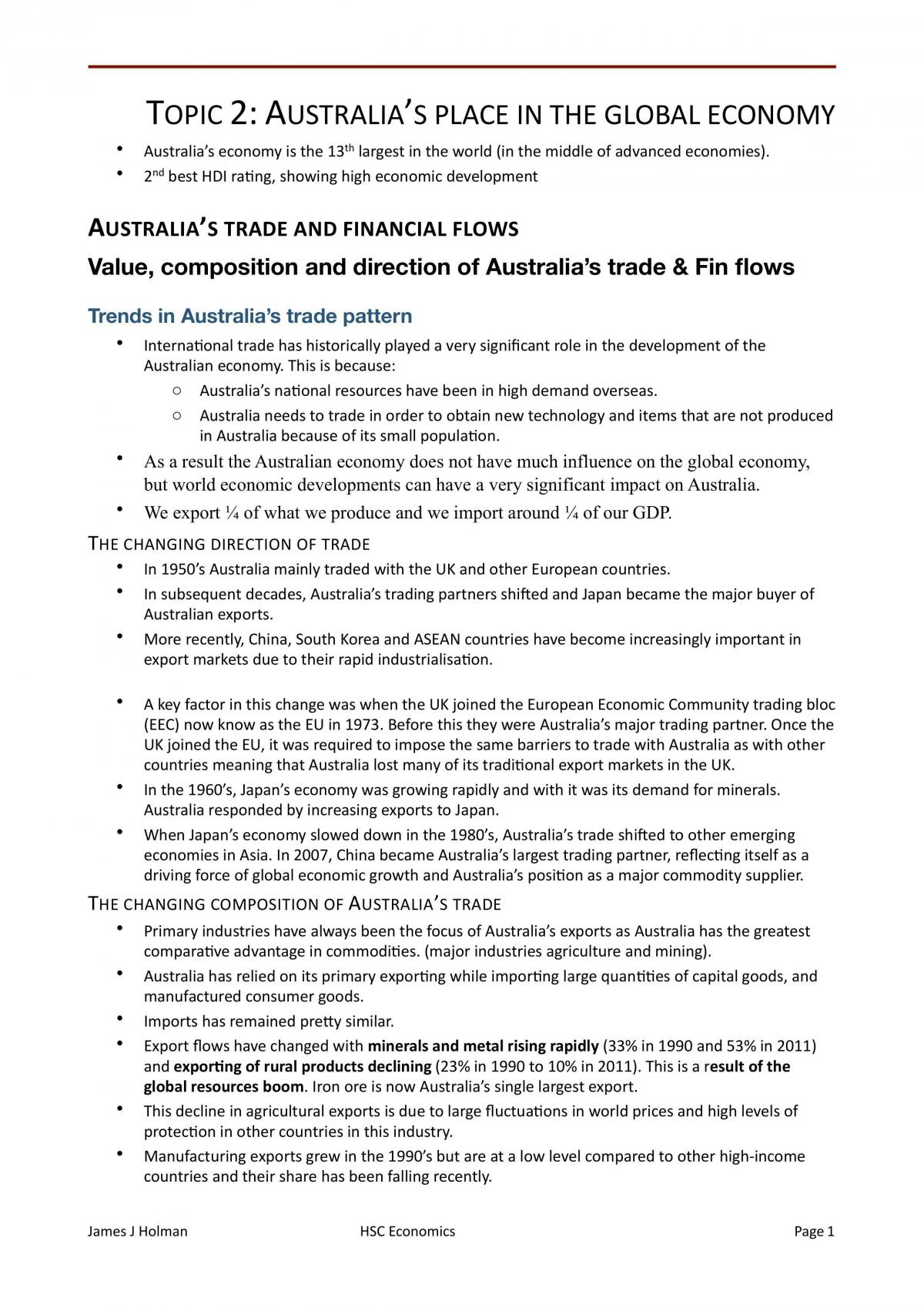 Australia's Place in the Global Economy - Page 1