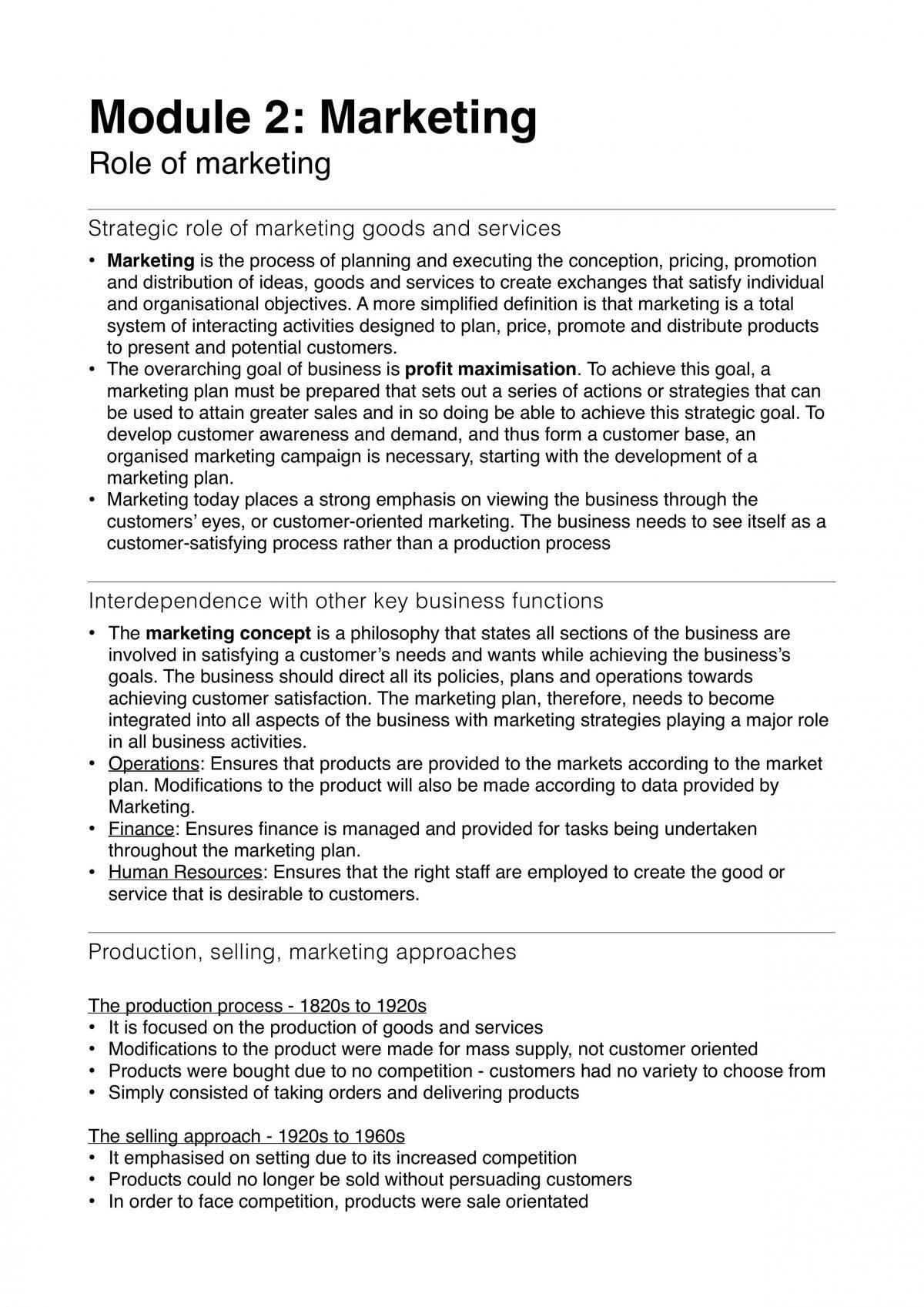 HSC Business Studies Module 2 Marketing notes - Page 1