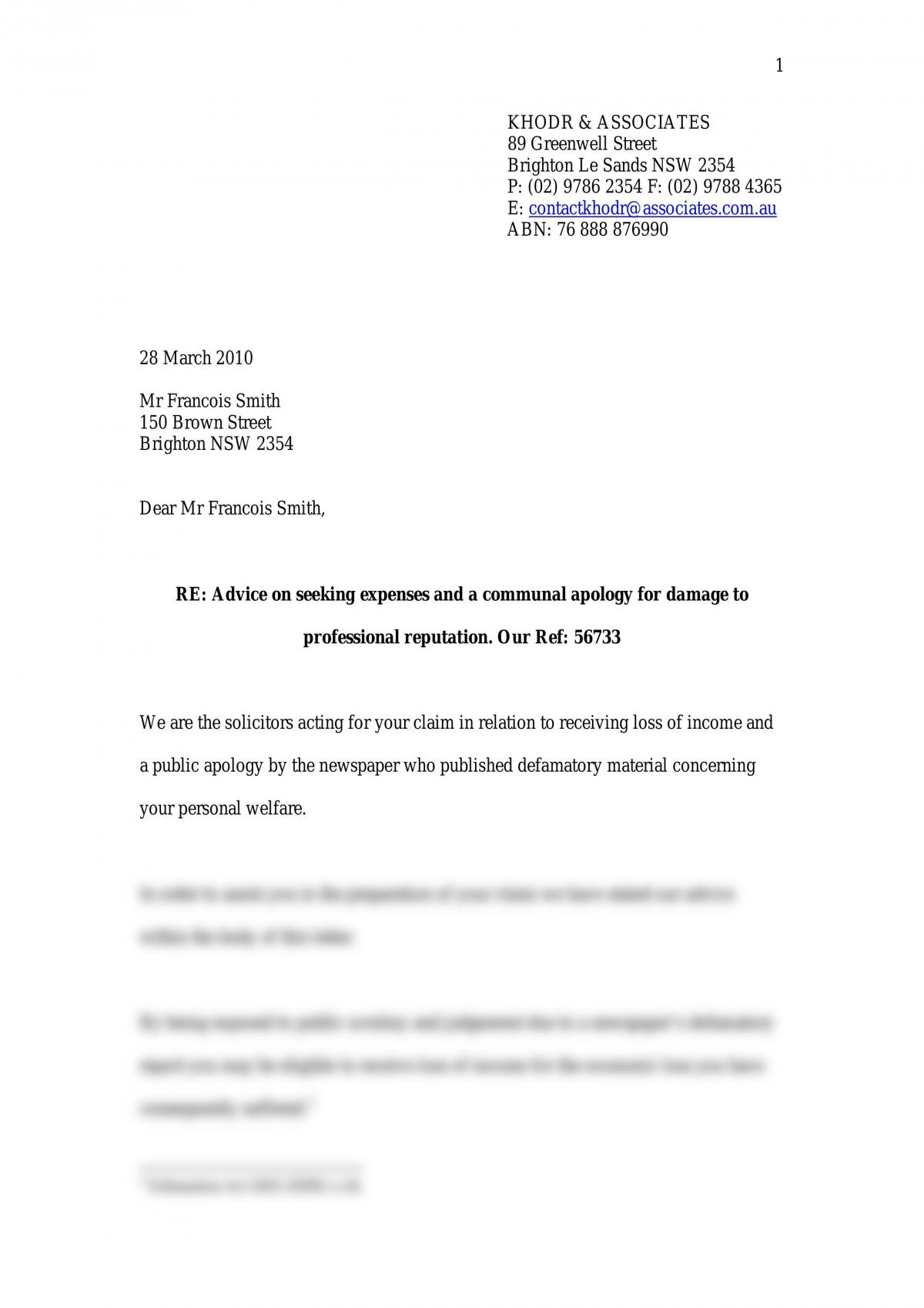 Torts Law- Letter \\\'Advice On Seeking Compensation And A Communal Apology For Damage To Professional Relationship\\\' - Page 1