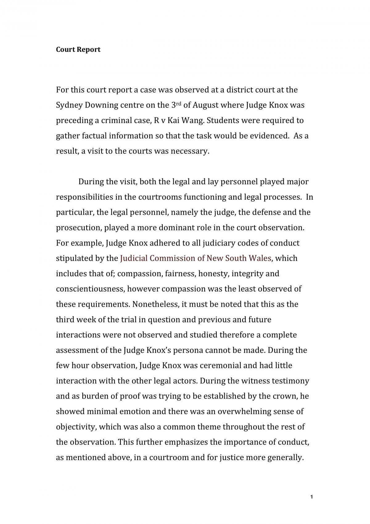 Court Report  - Page 1