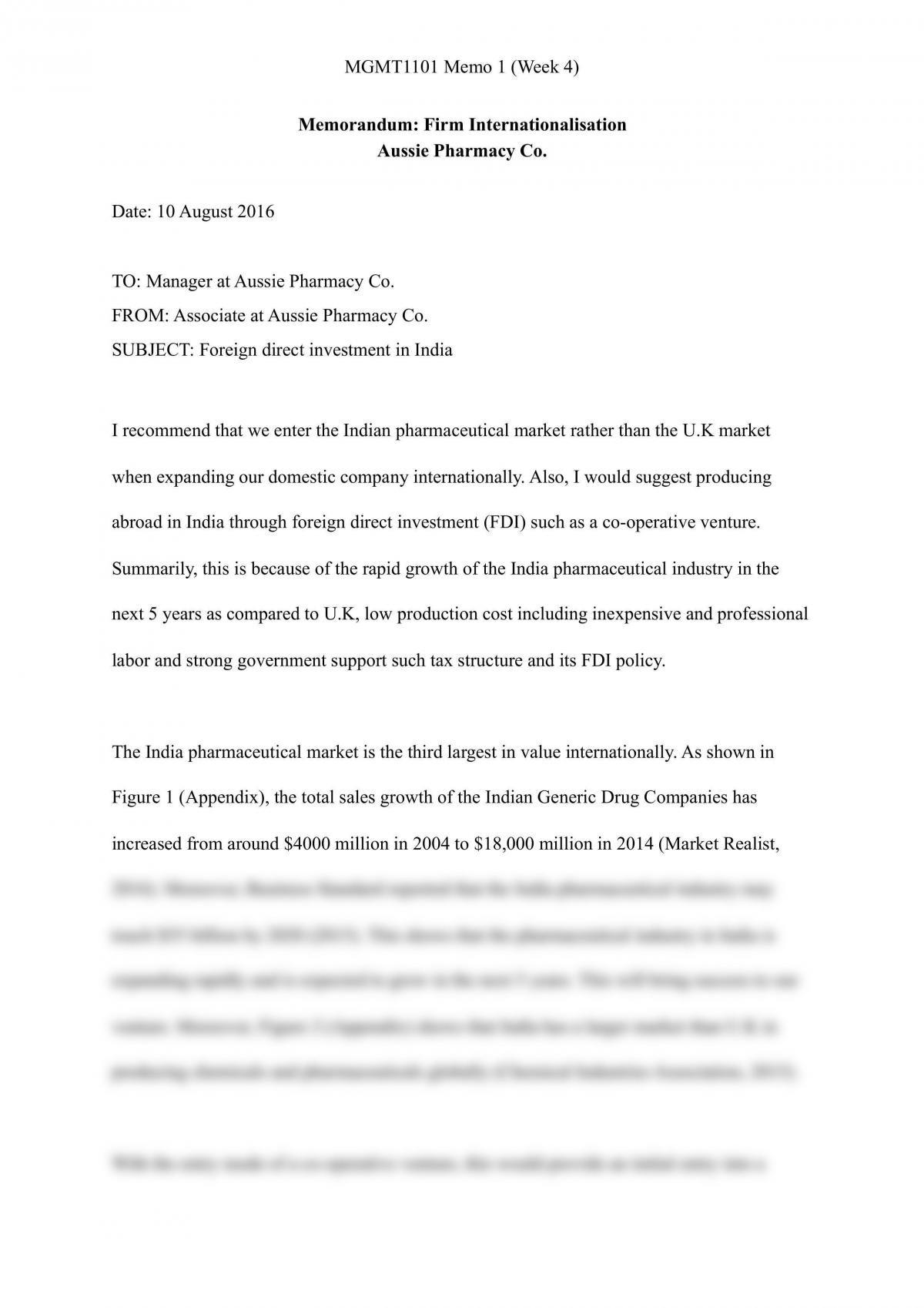 MGMT1101 Memo (Week 3) - Page 1