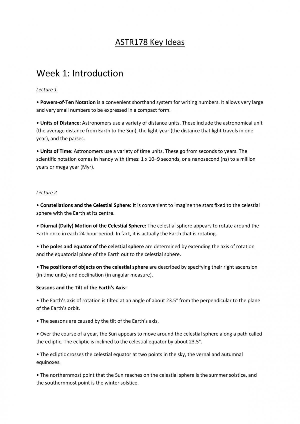 ASTR178 Key Ideas - Page 1