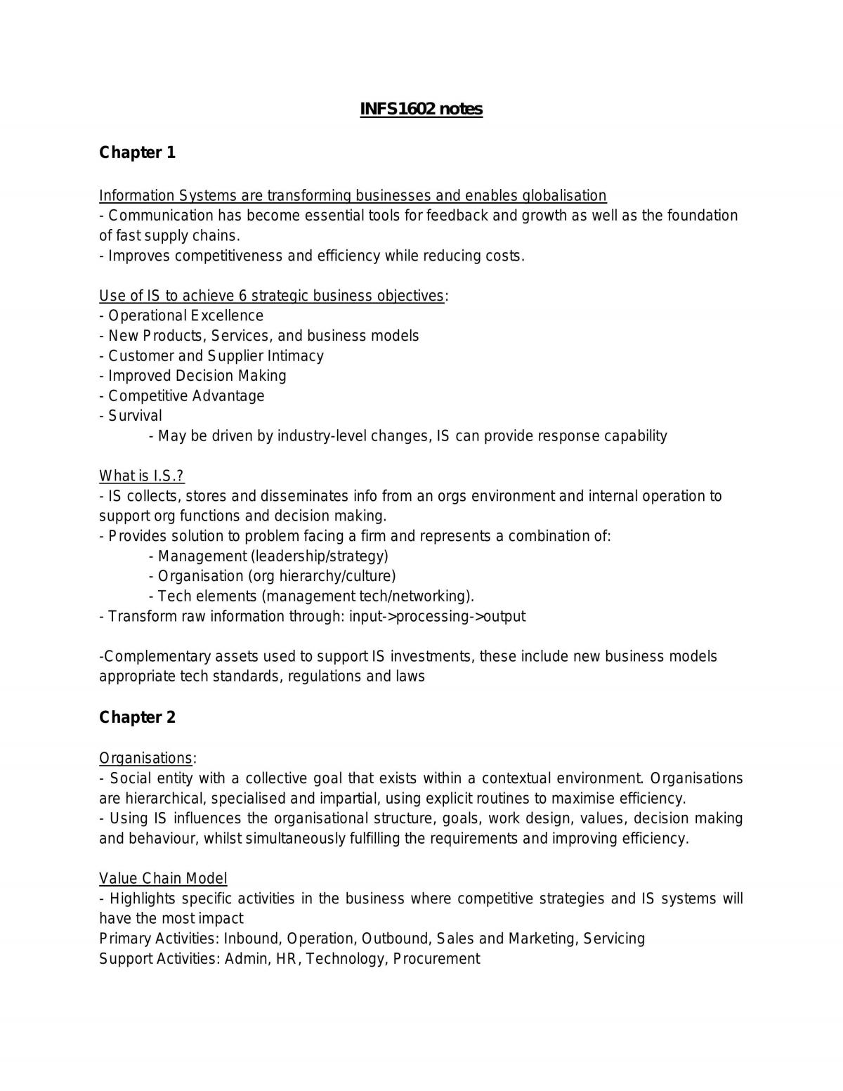 INFS1602 Summary of Each Topic - Page 1