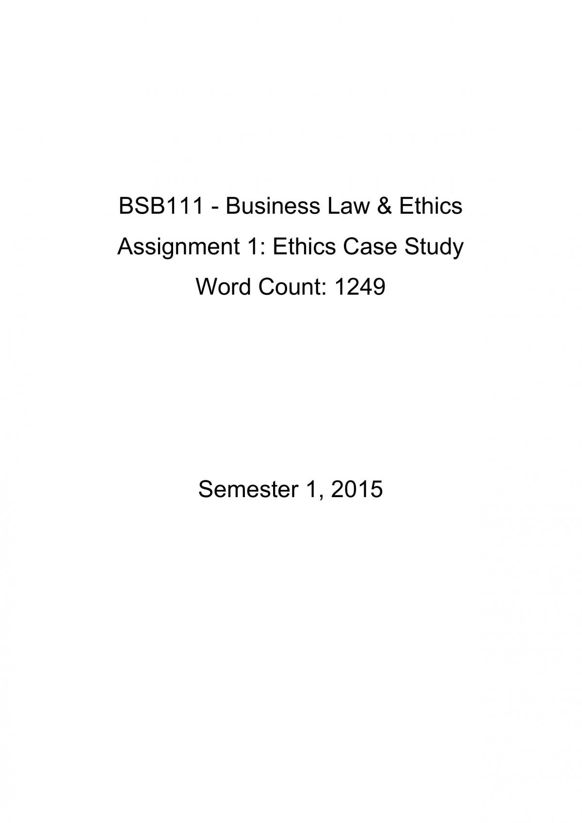 Ethics Case Study - Page 1