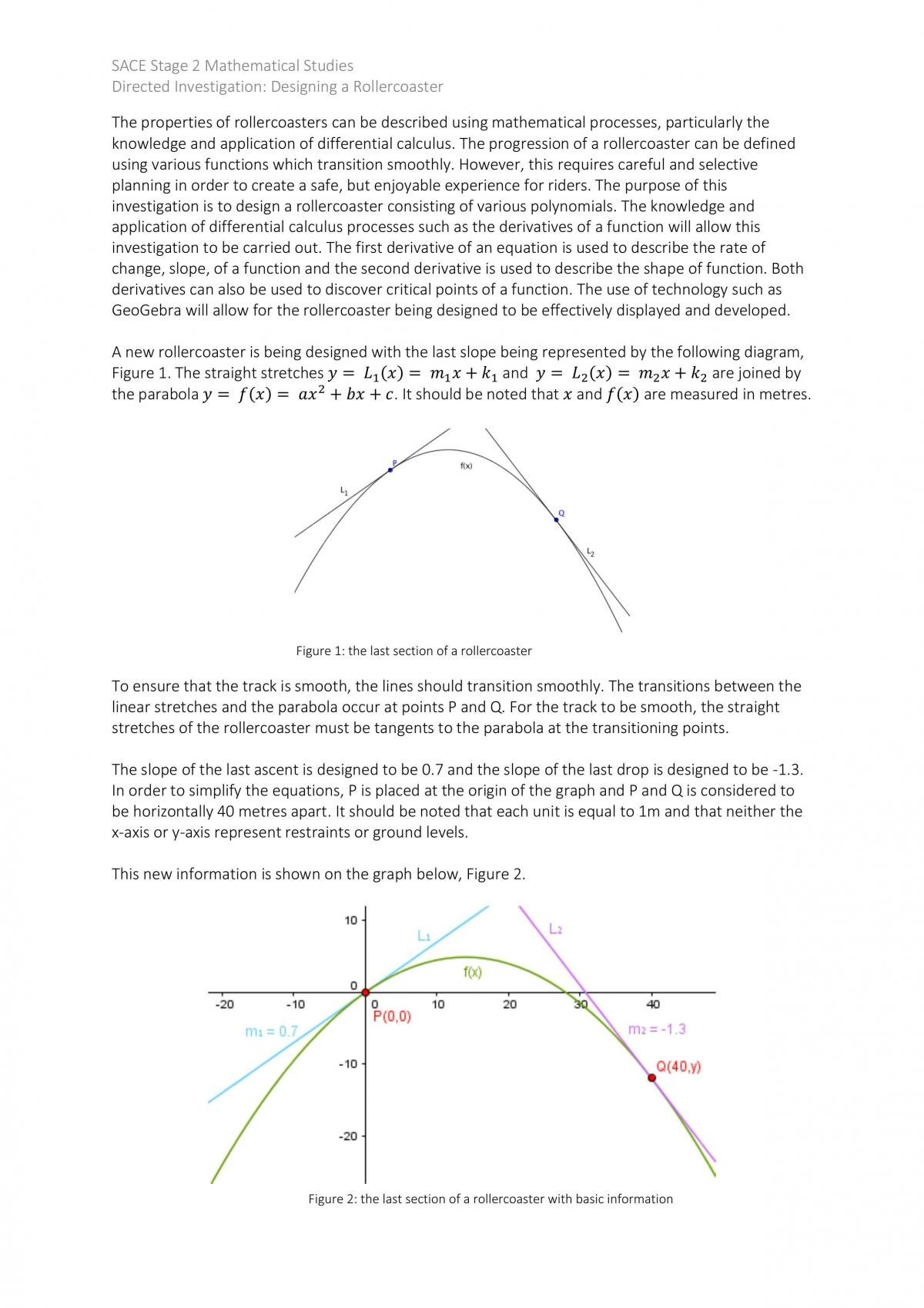 Mathematics - Designing a Rollercoaster - Page 1