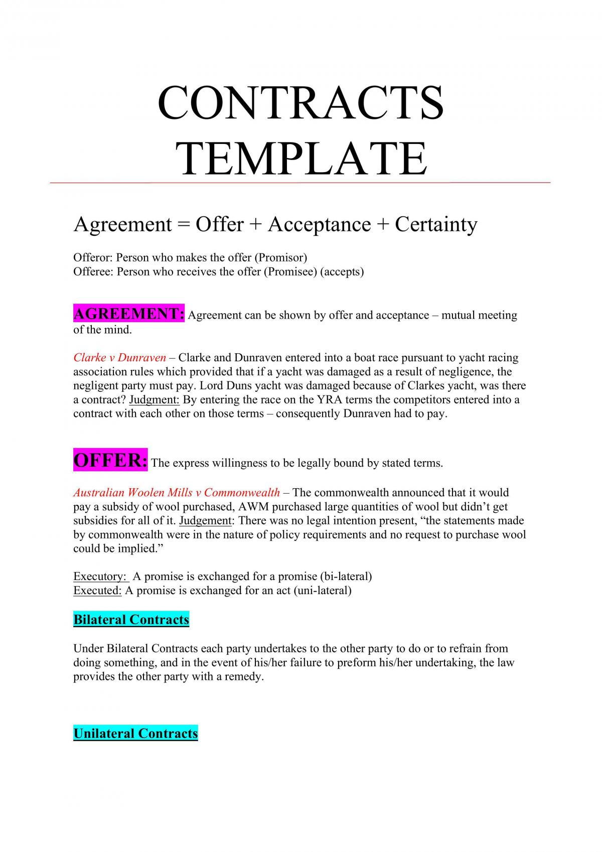 Contracts Template  - Page 1