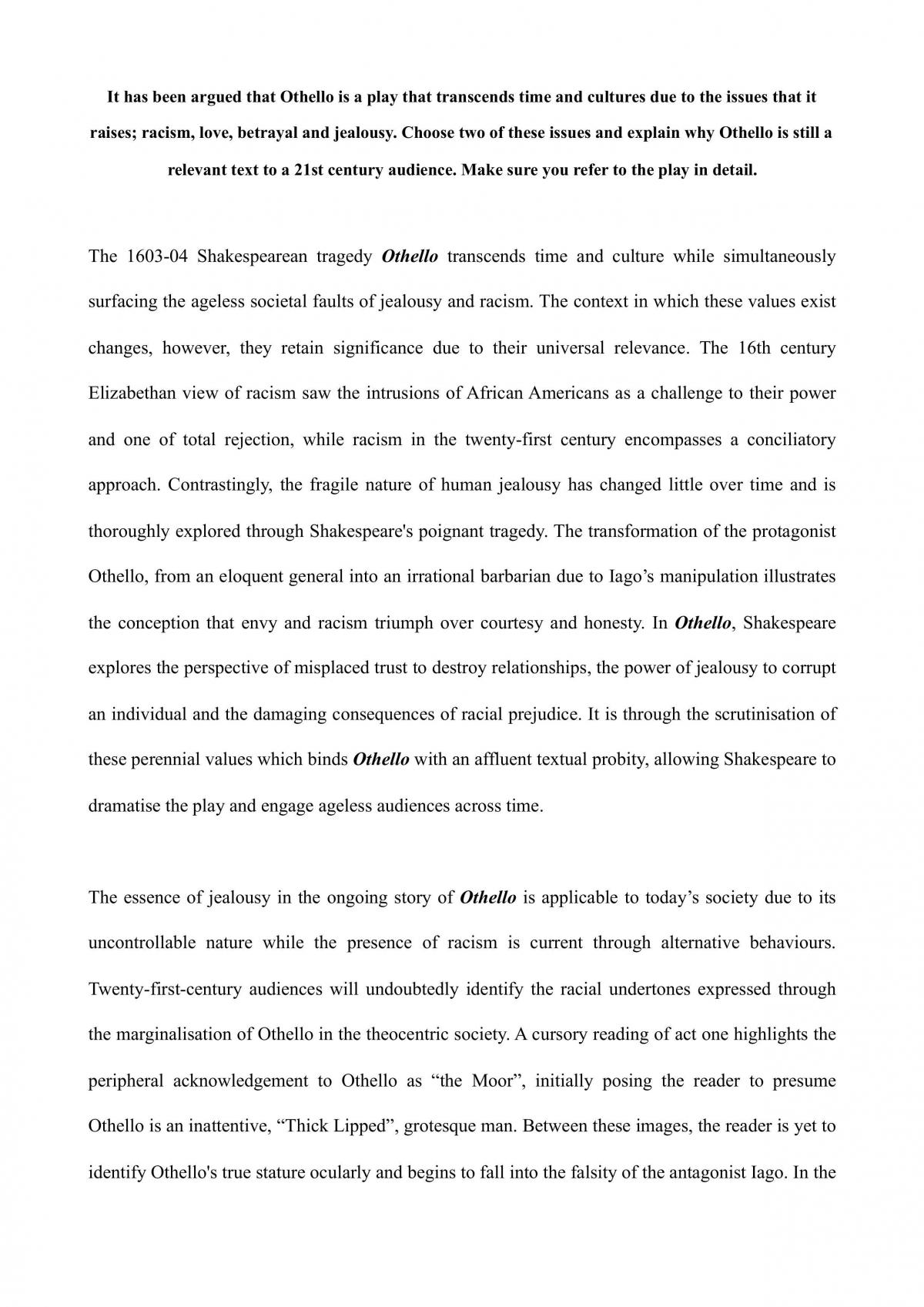 Othello Essay - 100% - Page 1