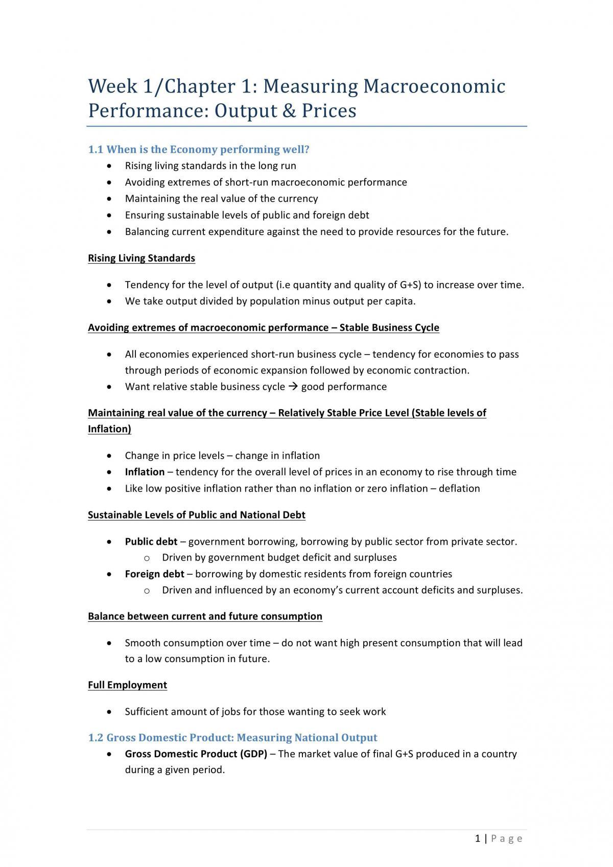 ECON1102 Macro Notes  - Page 1