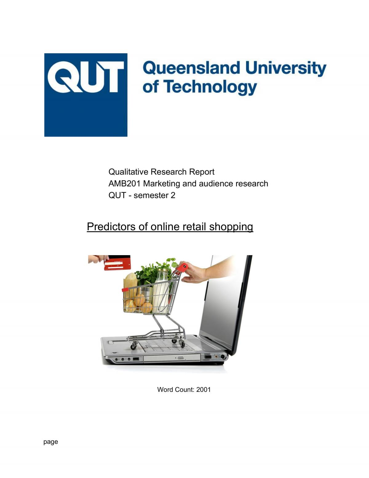 AMB201 Qualitative Research Report - Page 1