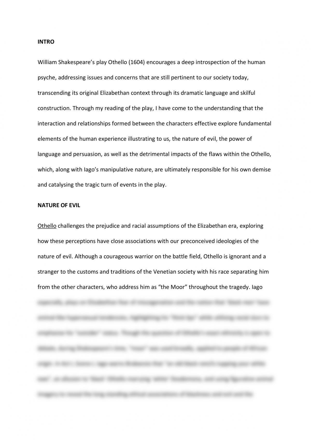 Essay on Othello - Page 1