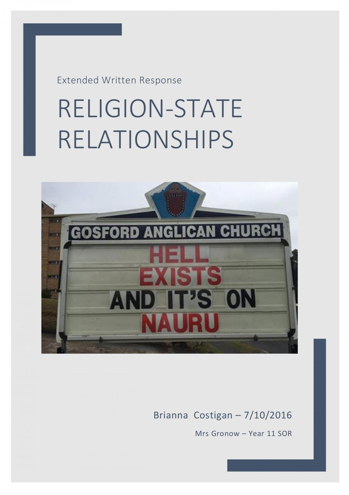 Religion-State Relationships in Australia - Essay - Page 1