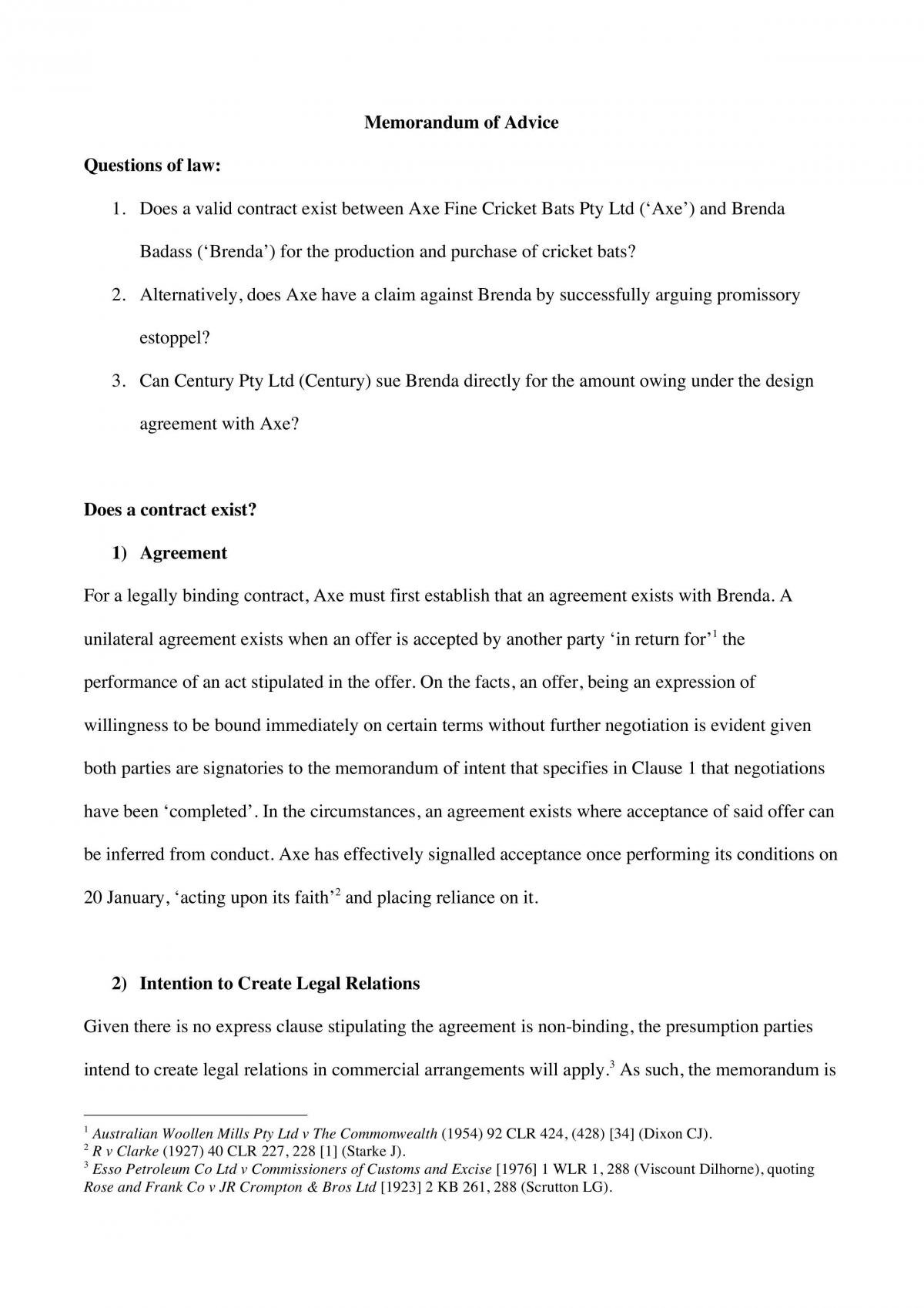 LAWS1015 Contracts Assignment  - Page 1