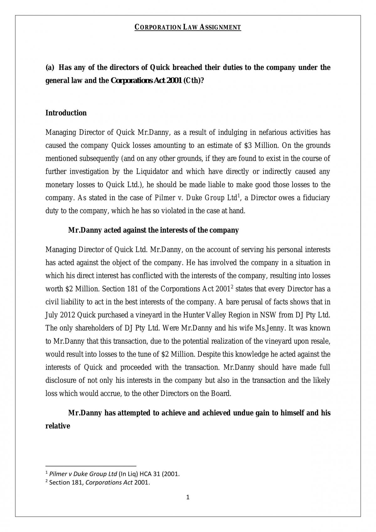 LAW251 Corporation Law Assignment - Page 1