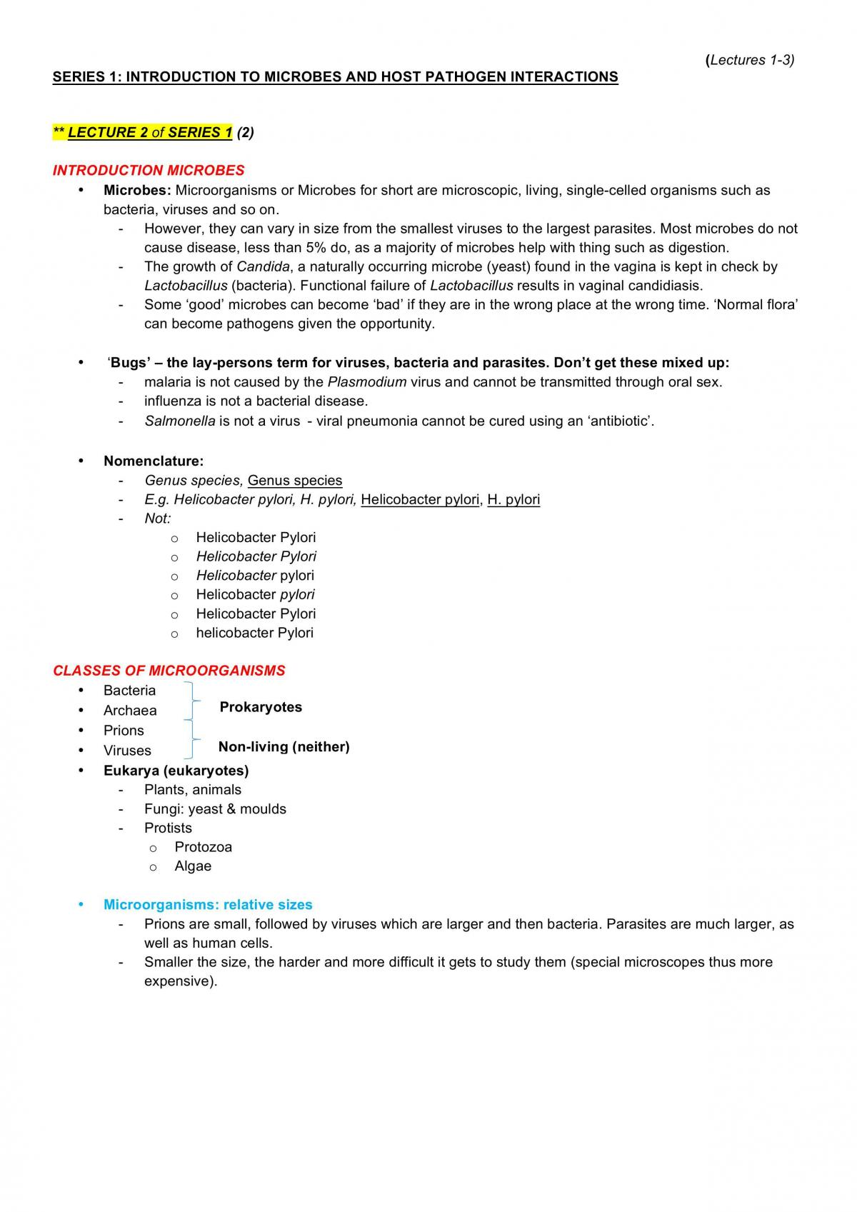 Lectures 1-6 for BMS2052 Notes - Page 1