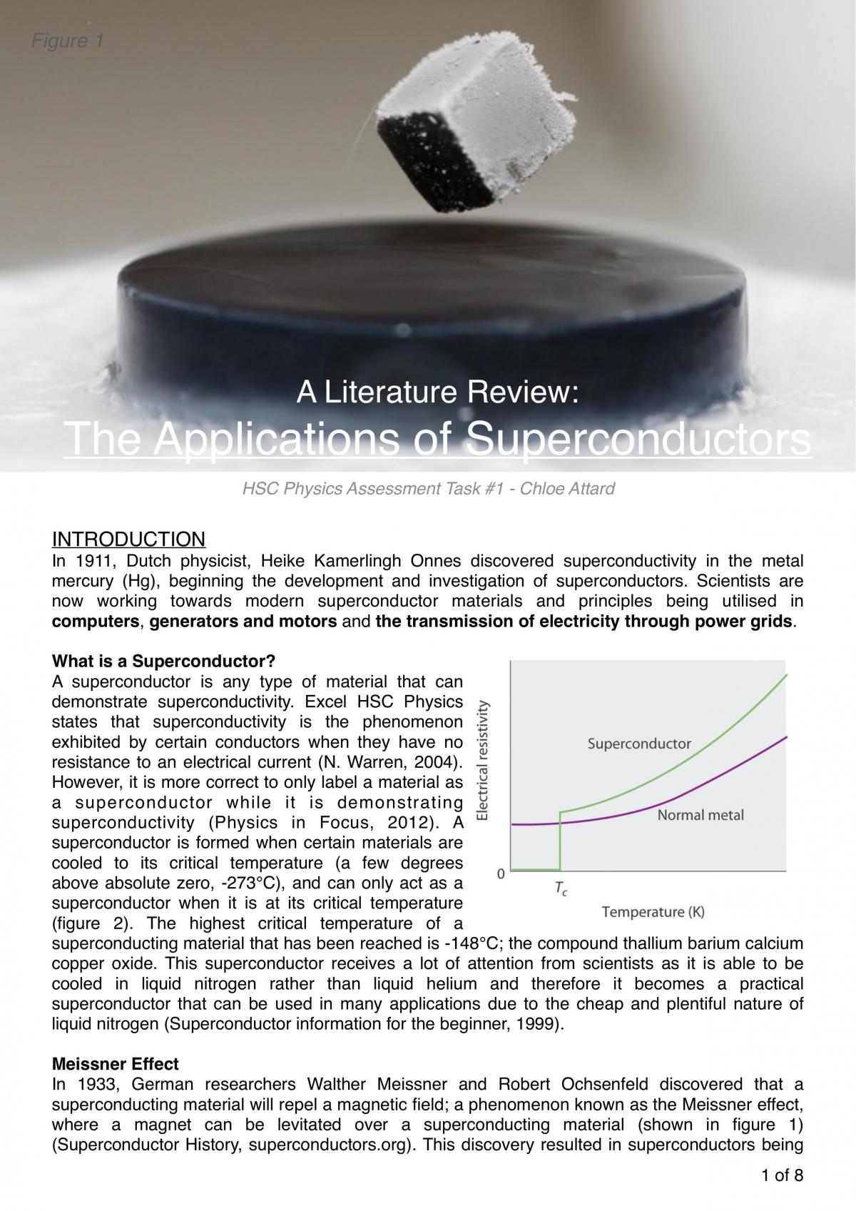 Superconductor Literature Report - Page 1