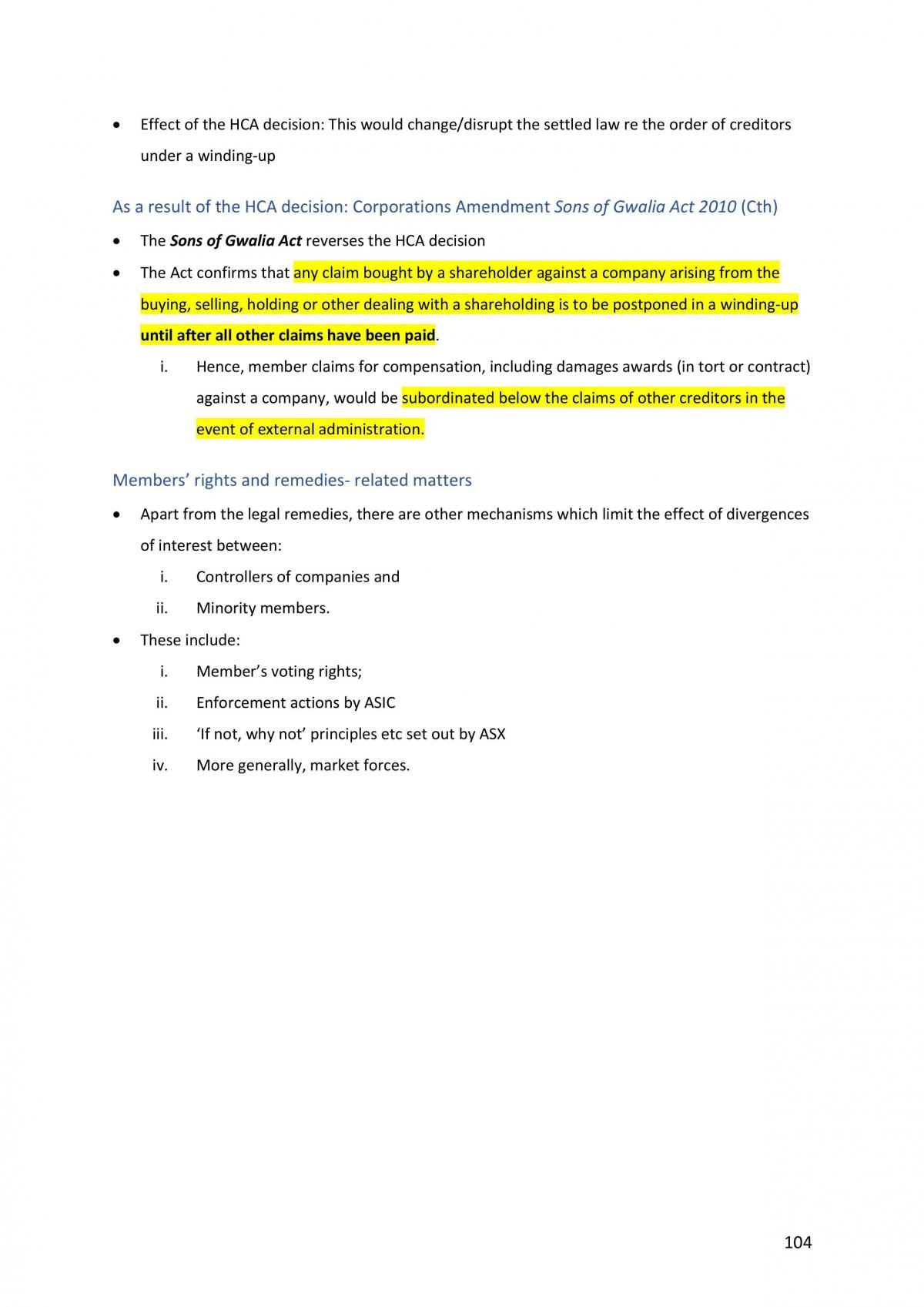 HD Corporations Law Complete Notes - Page 105