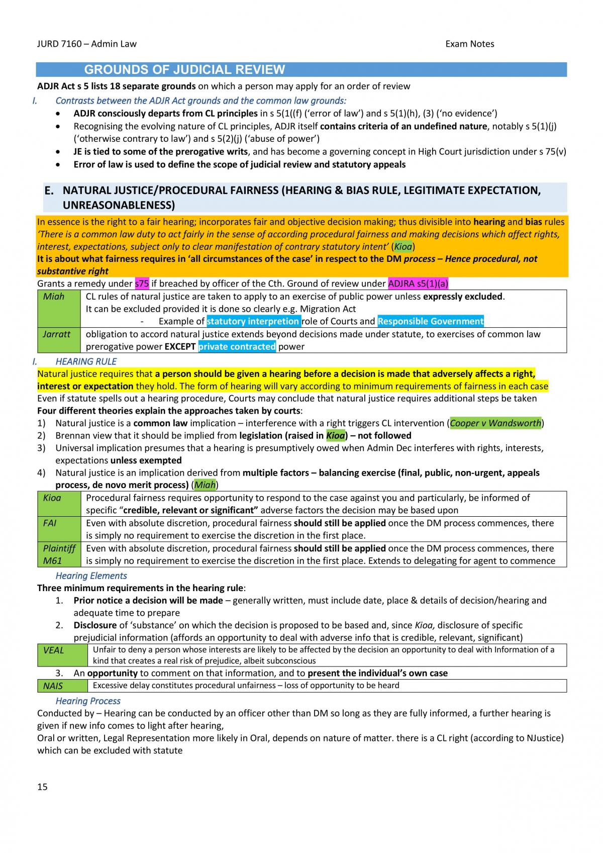 Full, Condensed Administrative Law Exam Notes - JURD7160 (S2, 2018) - Page 15