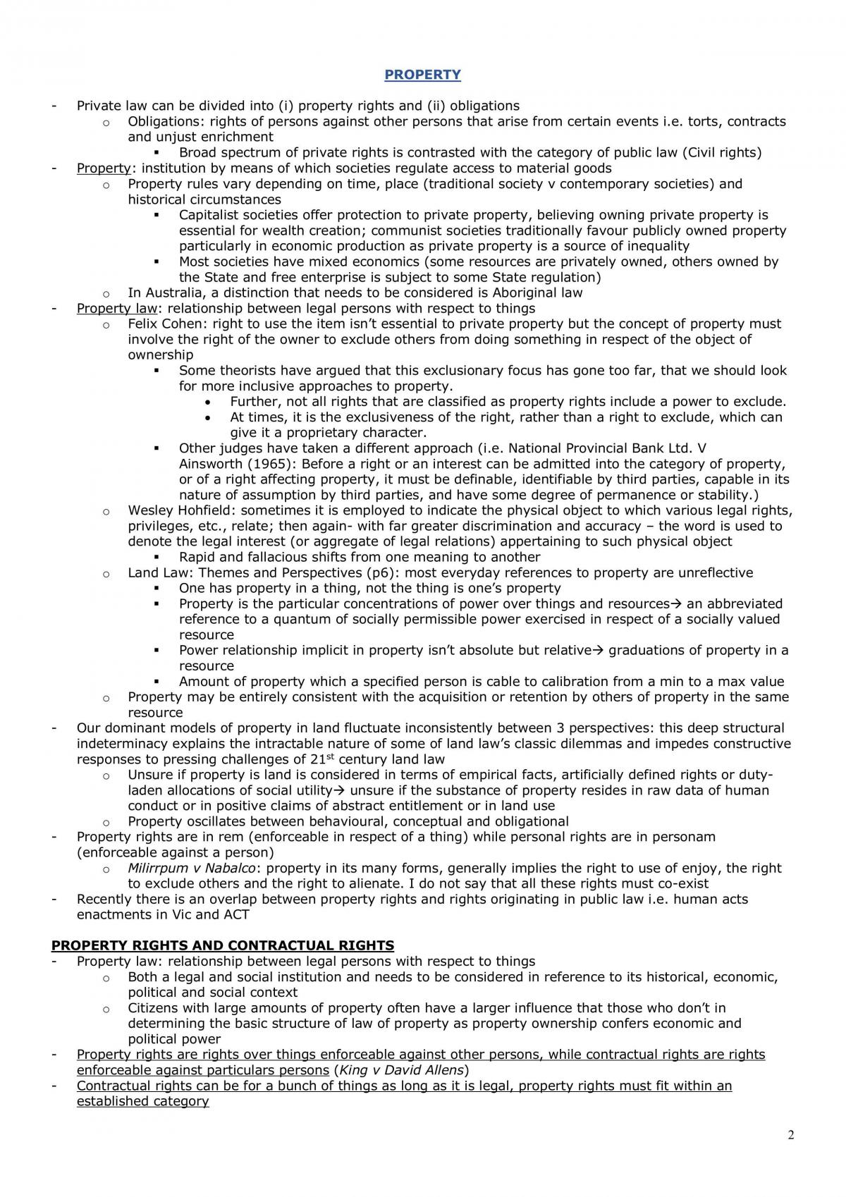 LAWS1150 Property Study Notes - Page 2