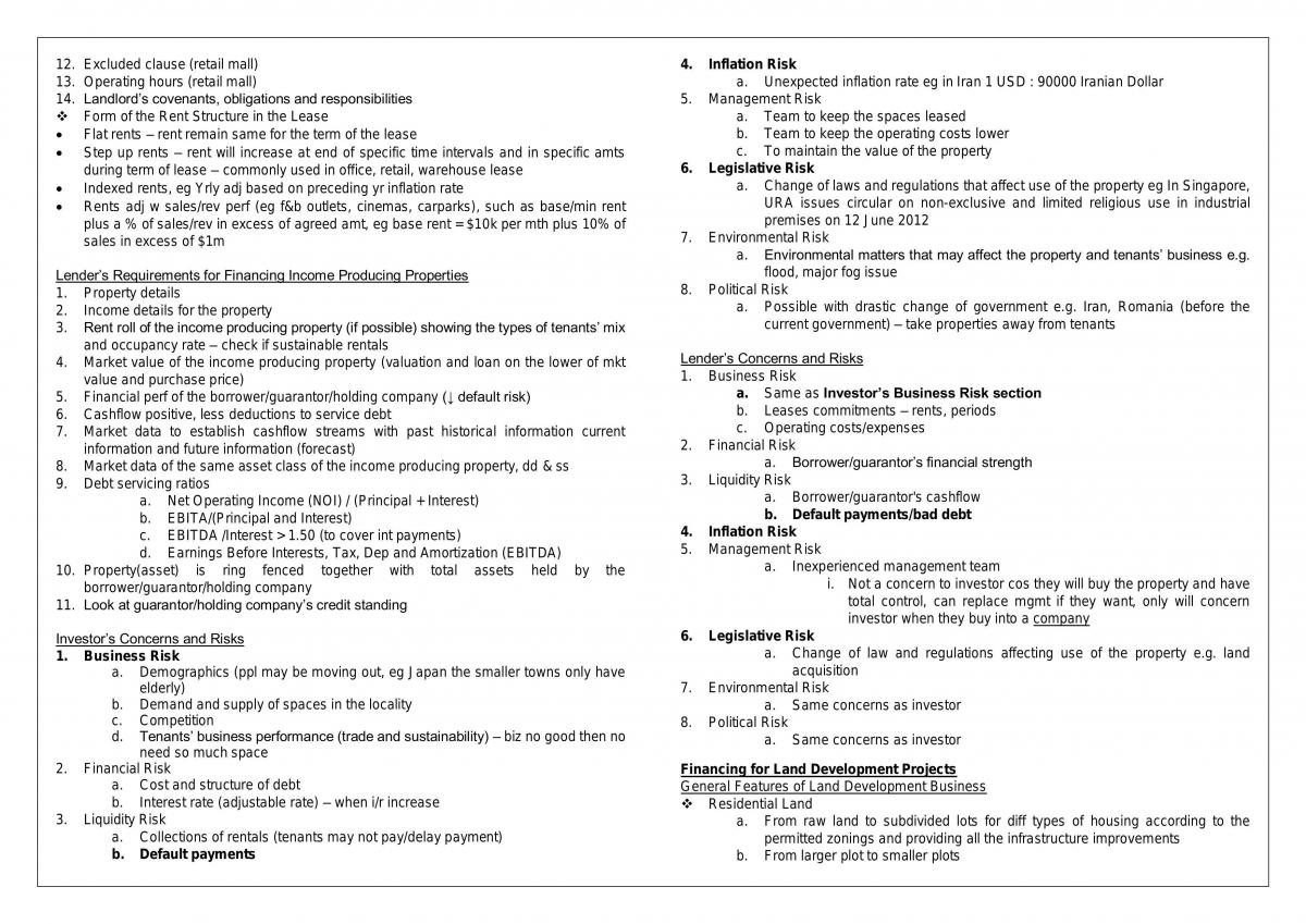Compiled Notes - RE2706 Real Estate and Infrastructure Finance - Page 11