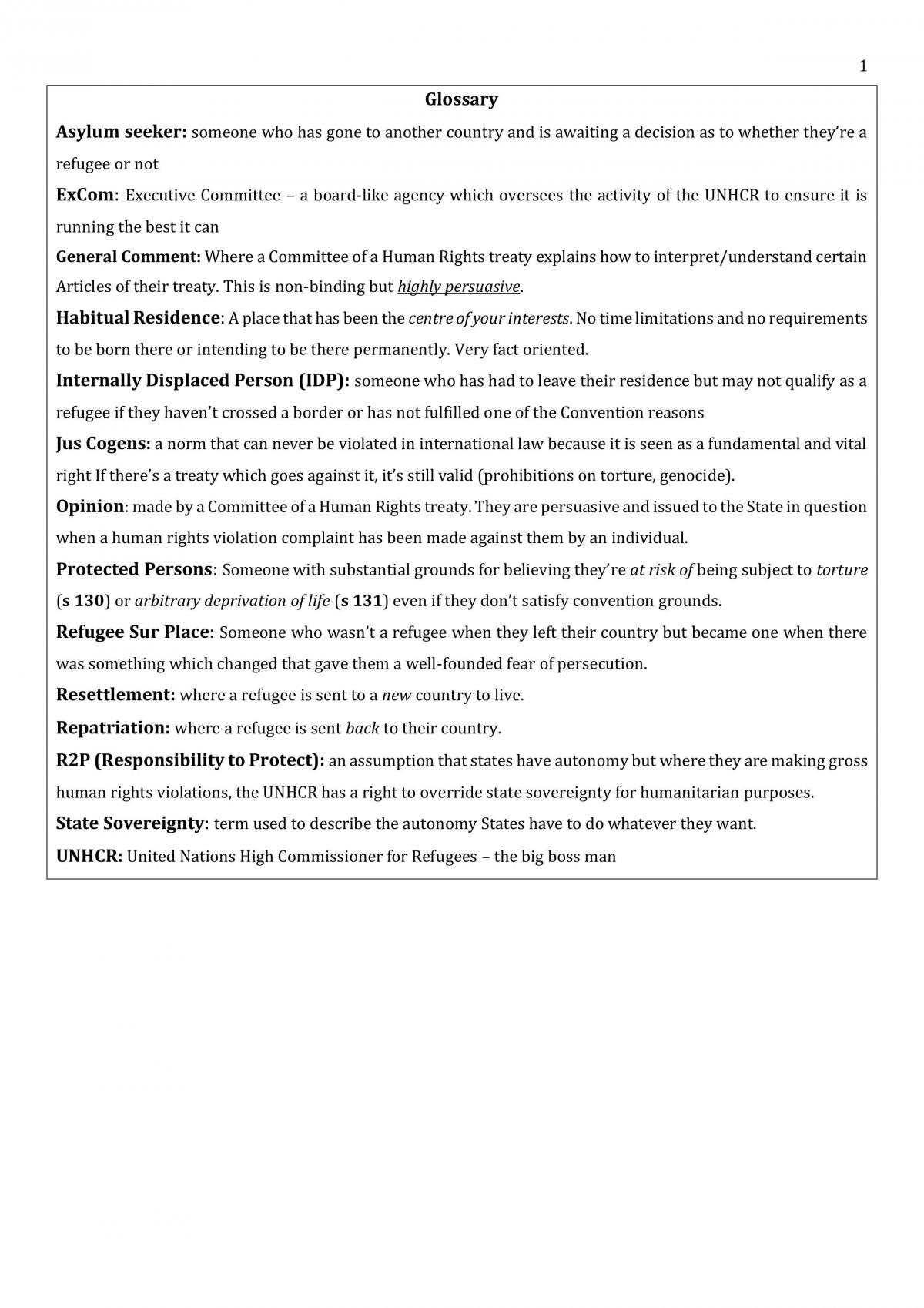 Refugee Law Full Course Notes - Page 2