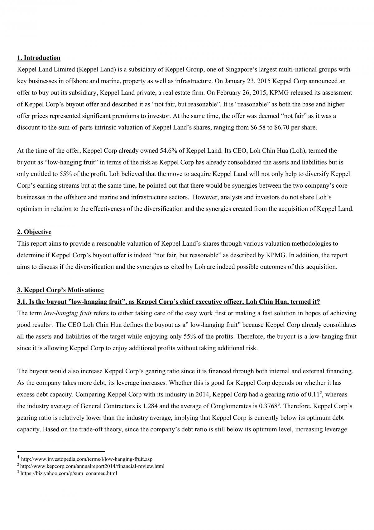 FIN3101 Corporate Finance Case Project Report: Keppel  - Page 2