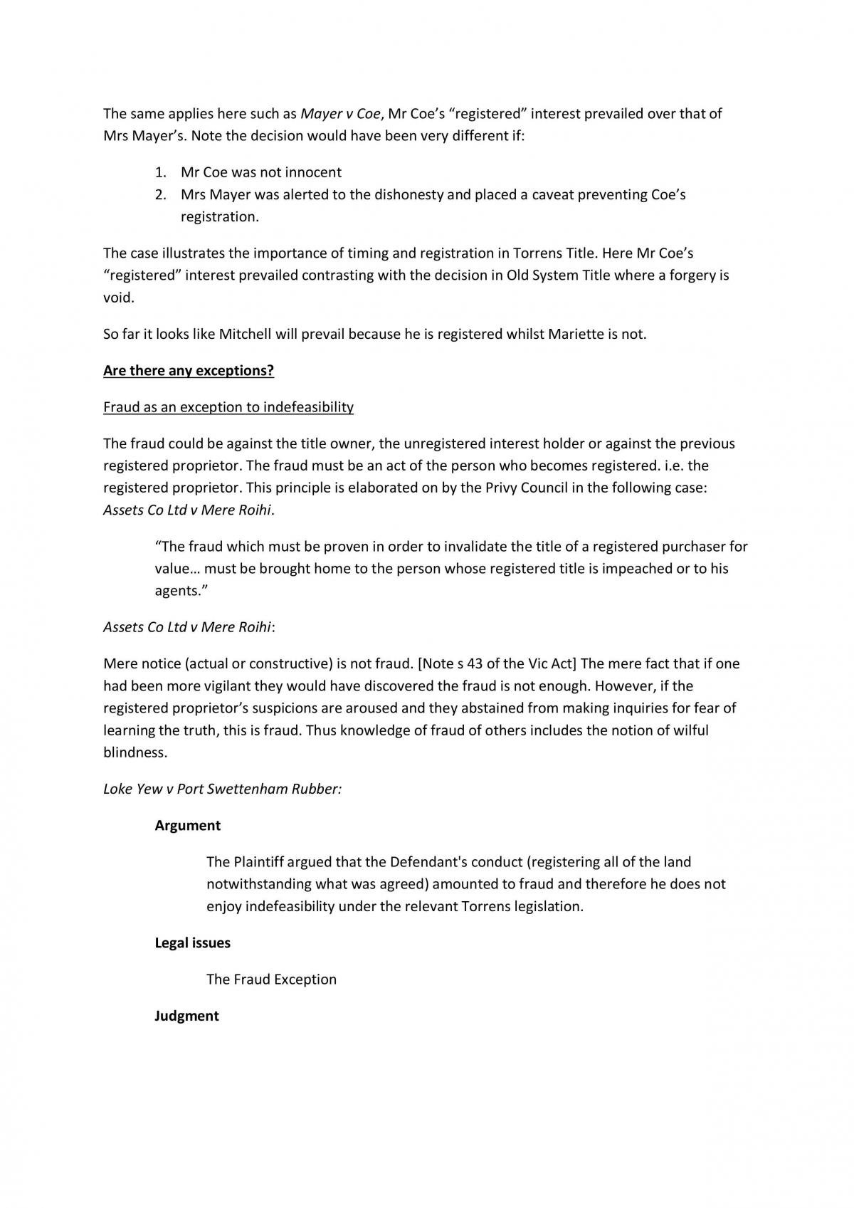 Problem Question Answers for Property Law (23 Pages) - Page 10