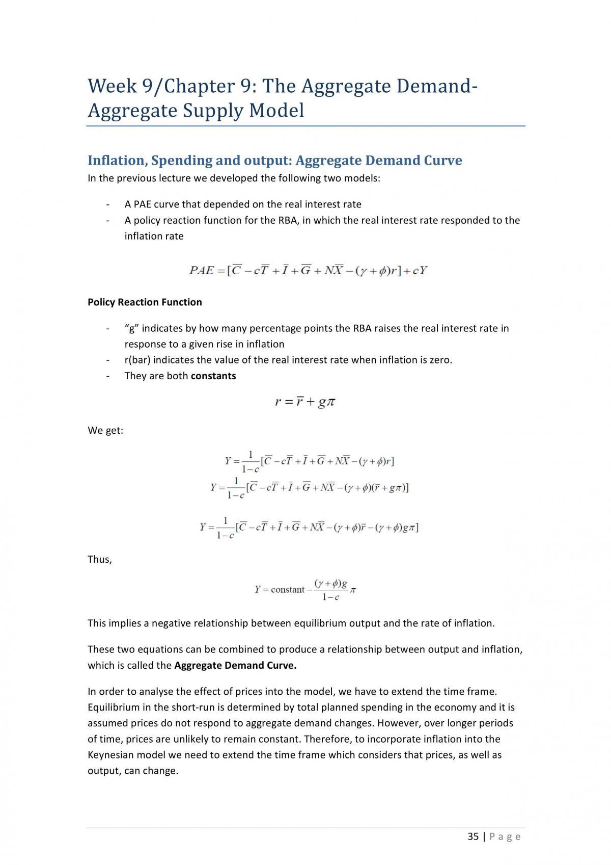 ECON1102 Macro Notes  - Page 35