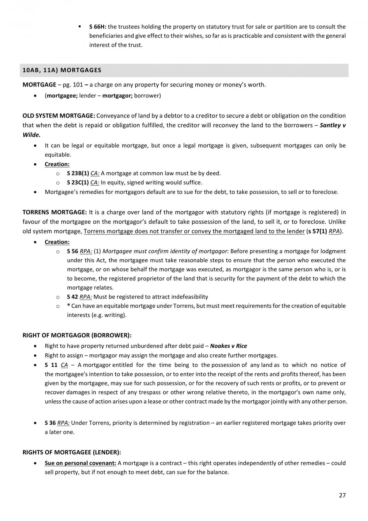 LAWS2383 - Land Law - Final Notes - Page 27