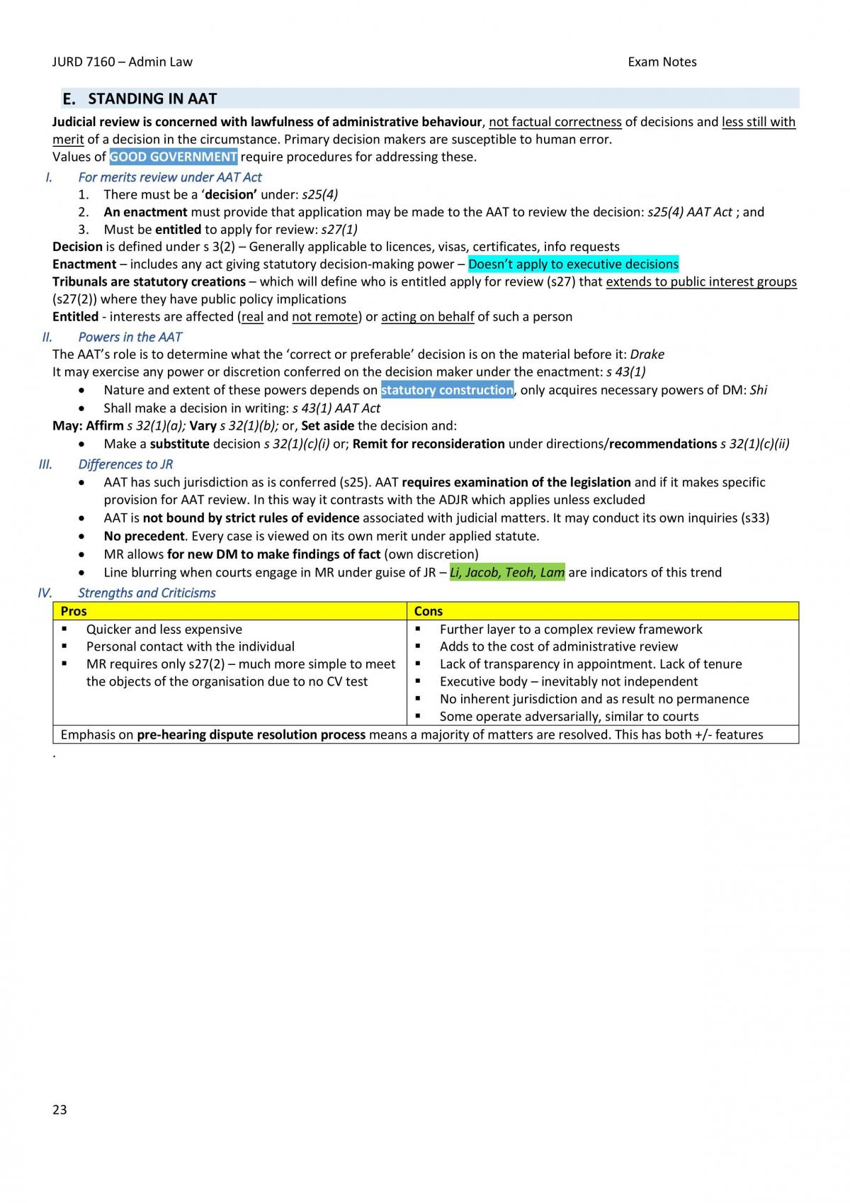 Full, Condensed Administrative Law Exam Notes - JURD7160 (S2, 2018) - Page 23