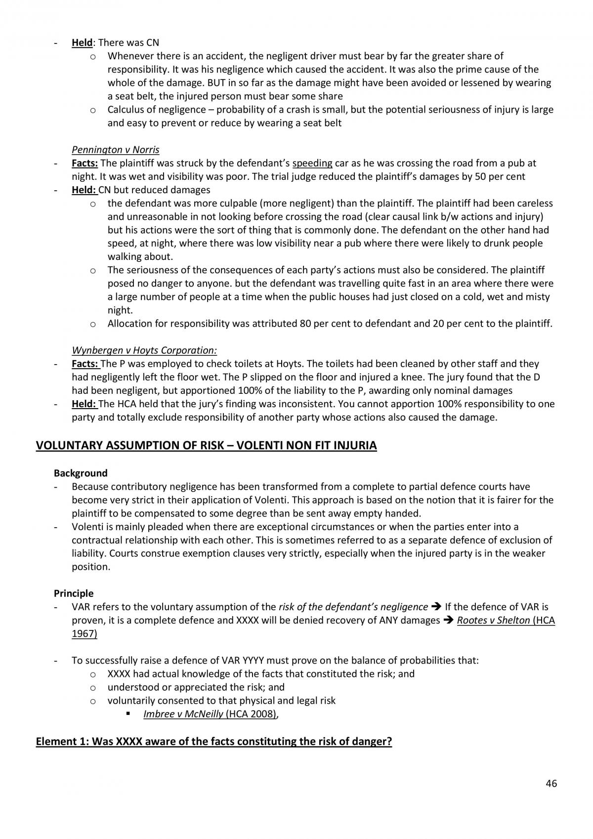 Torts 1 Notes  - Page 46