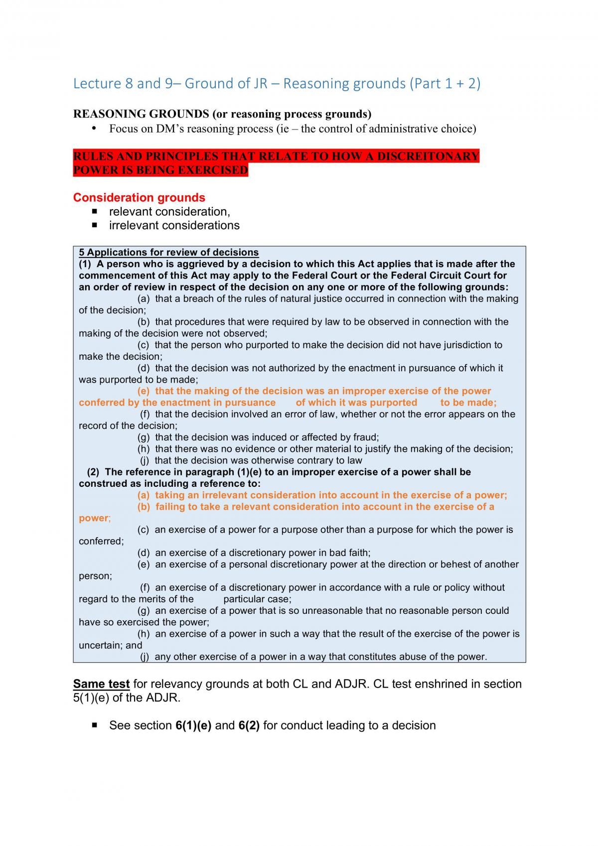 Administrative Law UTS Notes - Page 51