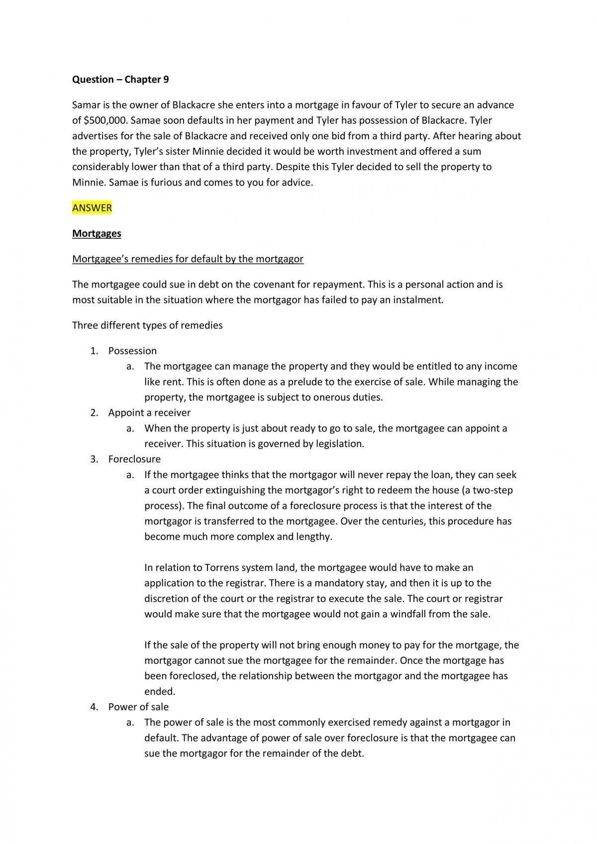 Problem Question Answers for Property Law (23 Pages) - Page 13